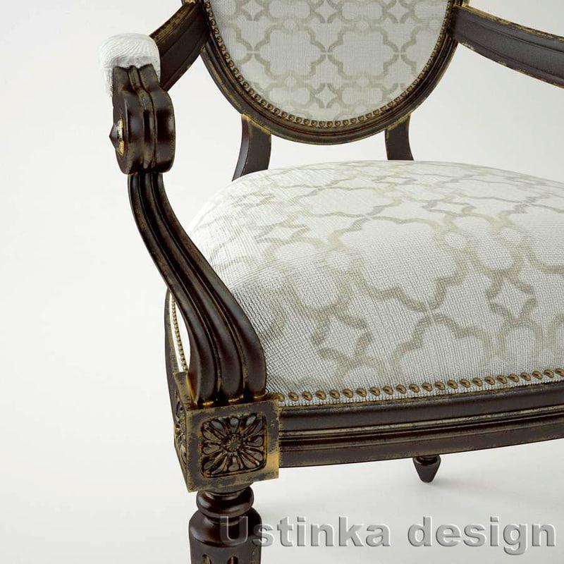 3d gold chair