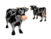 3d model low-poly cow
