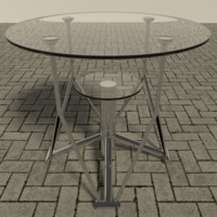 3d model chrome table glass