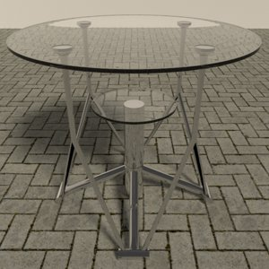 3d model chrome table glass
