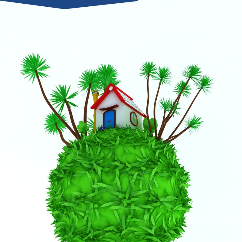 small house green earth 3d max