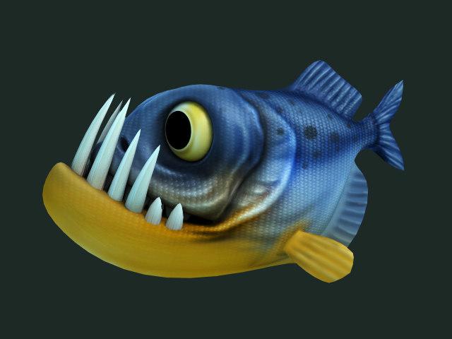 piranha cartoon 3d obj