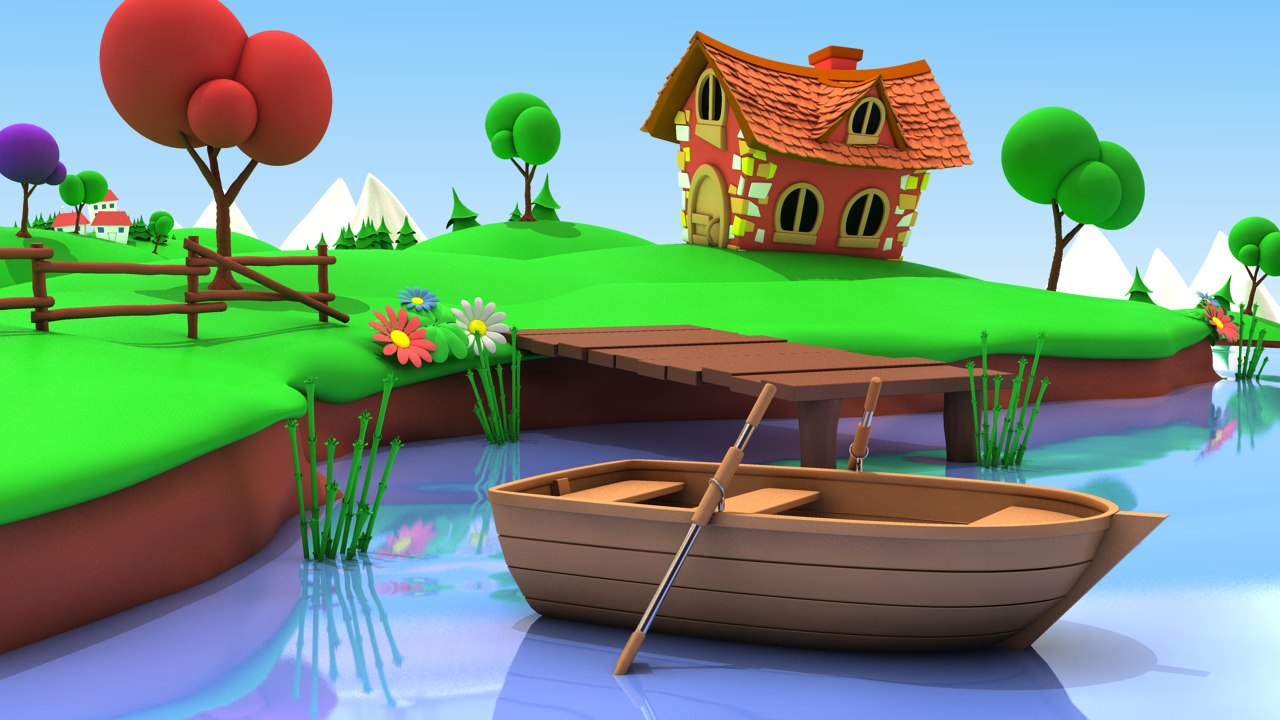 cartoon fishing pond 3d obj