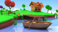 Cartoon Fishing Pond