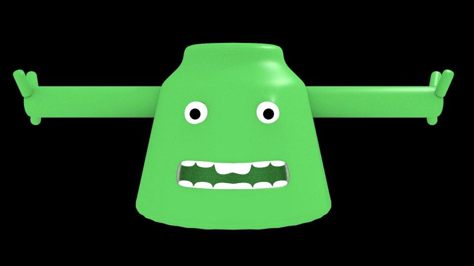 3d model simple cartoon monster