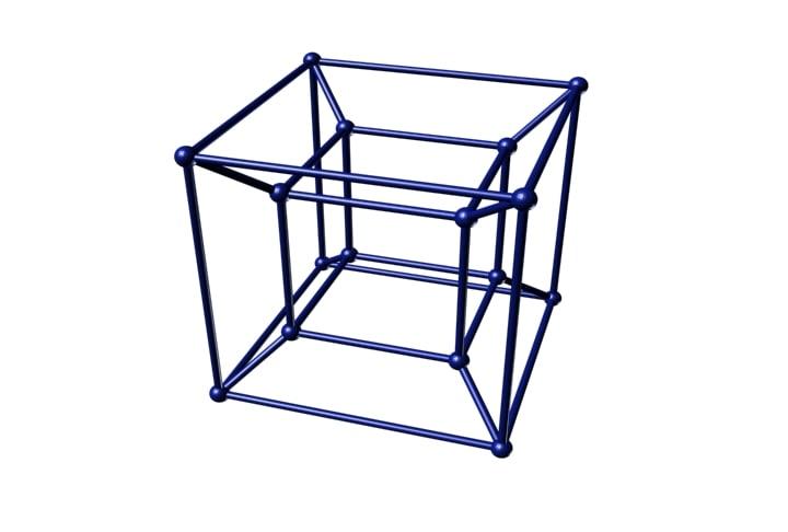 3d model of hypercube tesseract