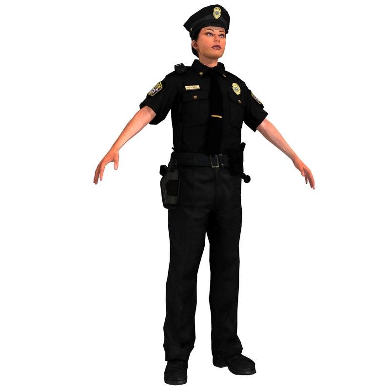3d police woman model