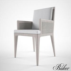 baker carmel cane dining chair 3d model