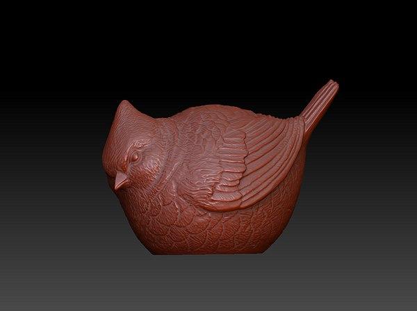 fat bird 3d obj