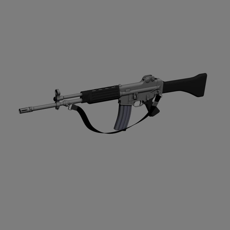 3d model rifle animation assembling
