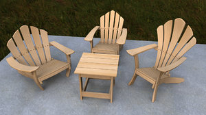 cartoon adirondack chair rigged 3d model