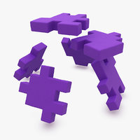 happy cube purple animation 3d model