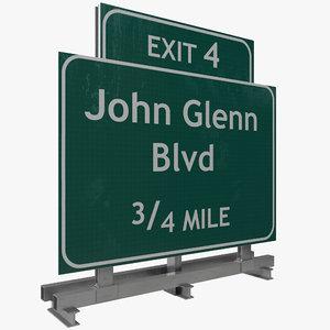 3d highway signage 5 model