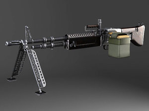 3d model machine gun m60