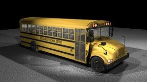 3d yellow school bus model