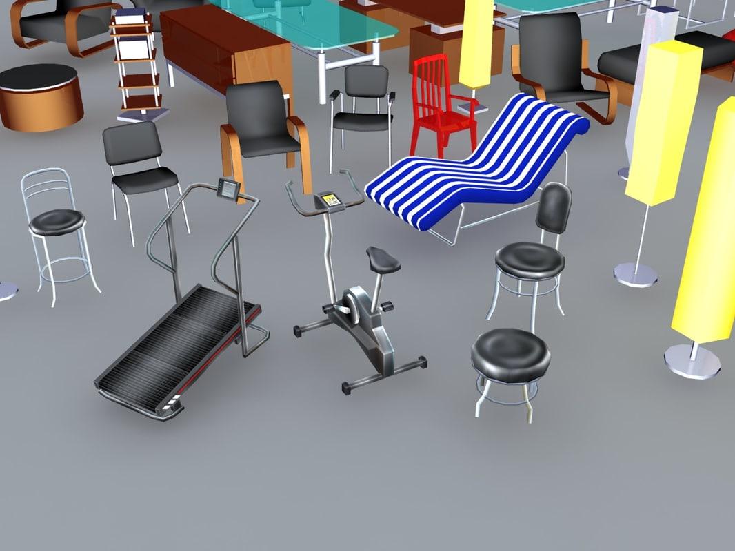 low-poly furniture 3d obj