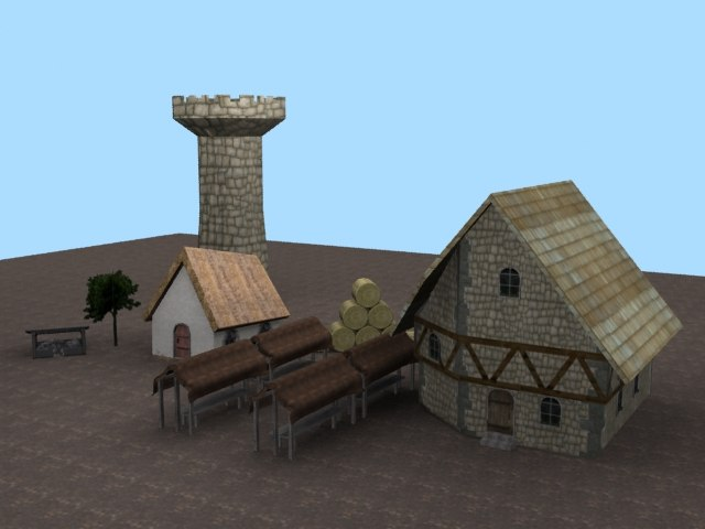 parts medieval town village 3d model