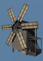 Low Poly Old windmill Type A for GameDev