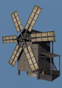 3d model old wind windmill