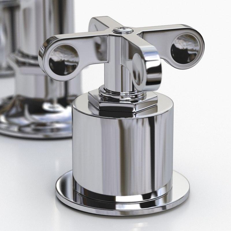 3d model waterworks faucet cross handles