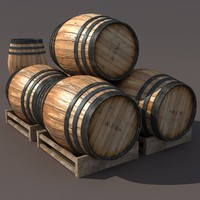 max old wooden barrel modeled