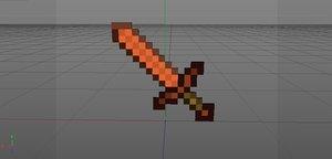 3d model minecraft sword