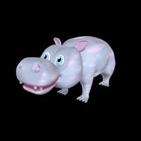 hippo cartoon obj