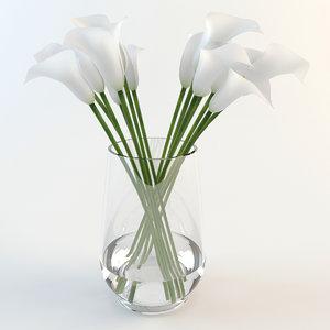 3d calla lilies vase