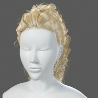 realistical woman hairstyle 3d 3ds