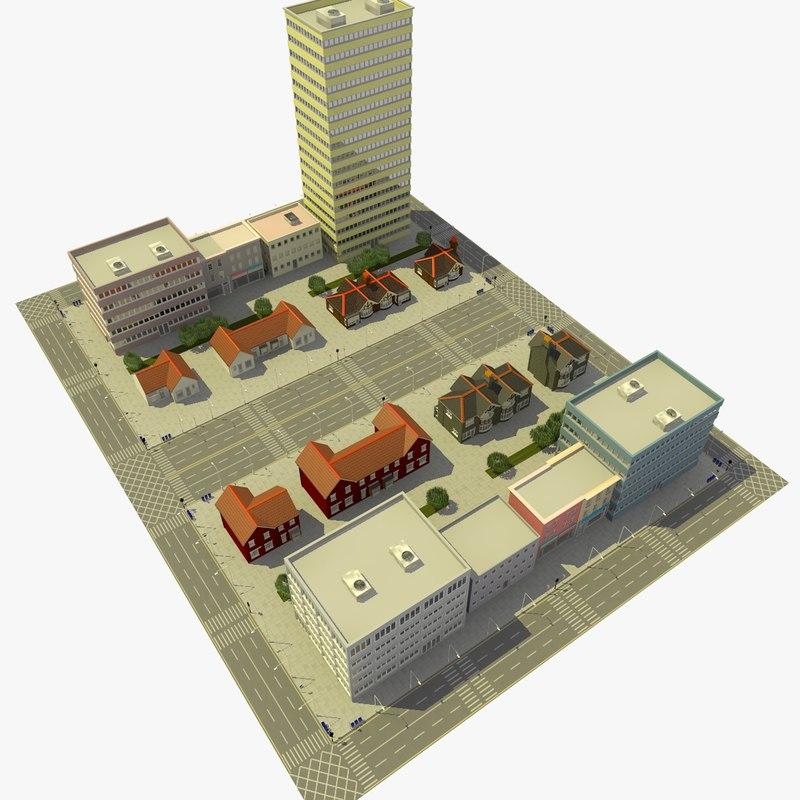 3d city urban neighborhood block