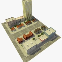 3d city urban neighborhood block