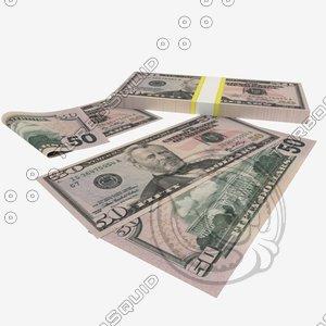3d 50 dollars banknote model