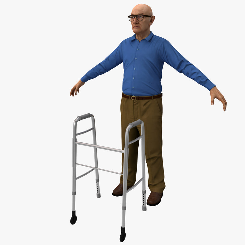 3d elderly man rigged model