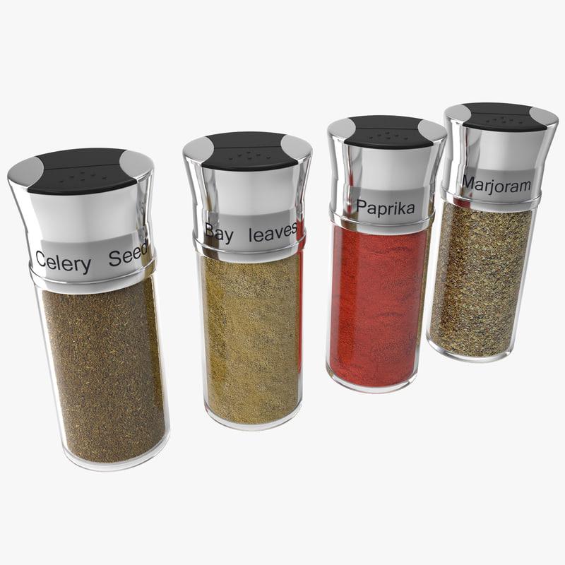 3d model spice bottles set 5