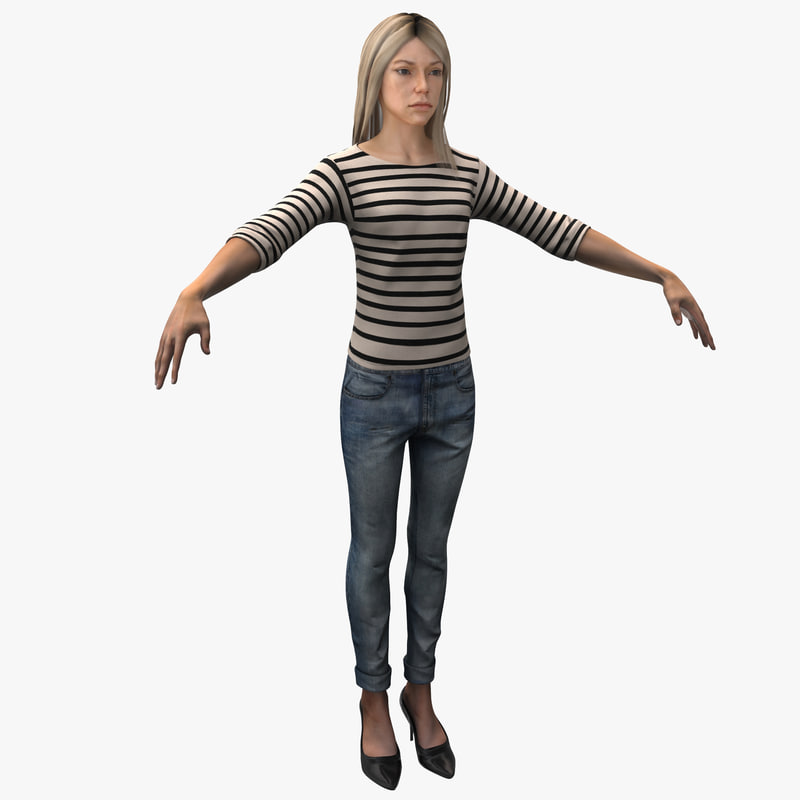 3d young white female rigged model