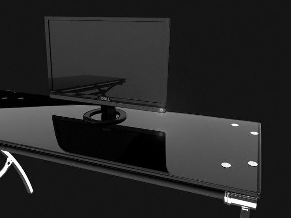 modern desk glass 3d ma