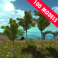vegetation pack trees bushes 3d max