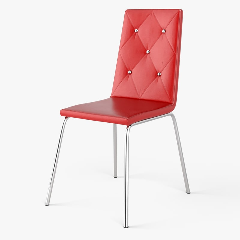 3d model red leather chair