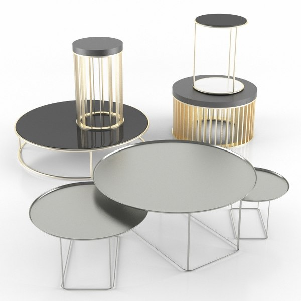 3d model tea table set