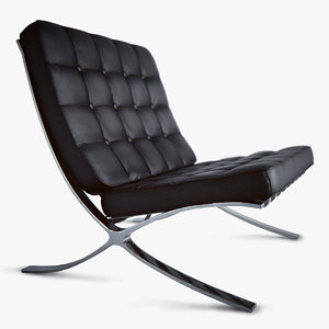 3ds max barcelona chair black leather