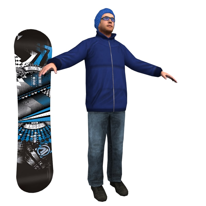 snowboarder player games 3d model