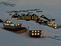 Ski Town Winter Christmas Snow Scene