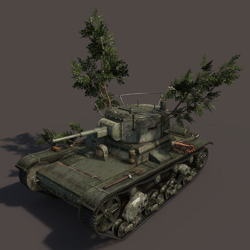 3d model soviet tank t-26