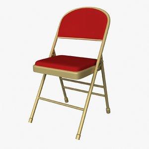 3d model cushion folding chair
