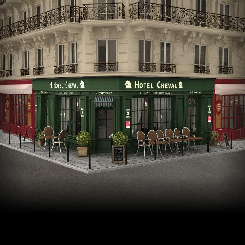 3d obj france restaurant hotel facade