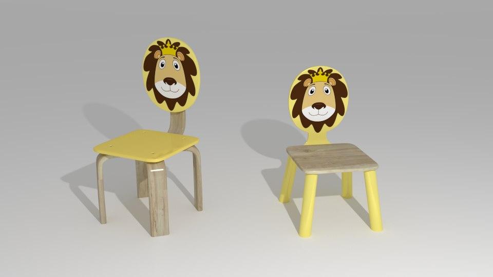 3d model kids chair
