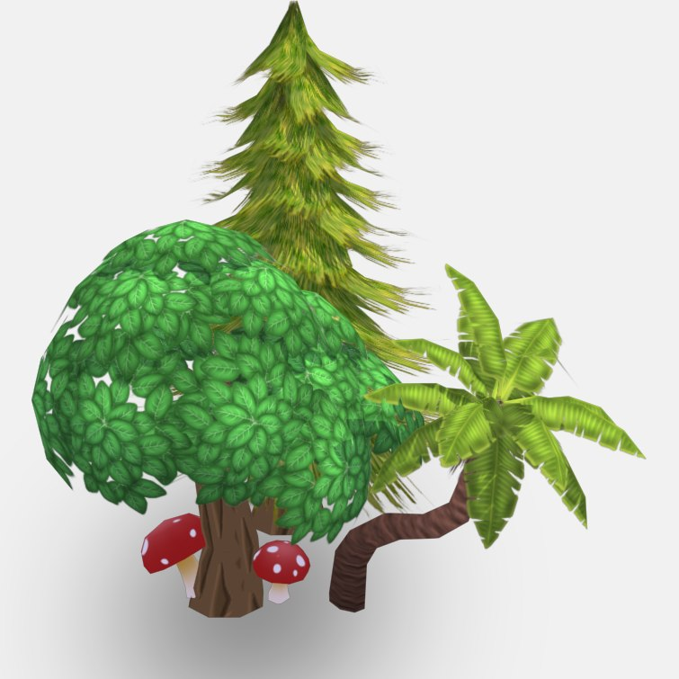 3d realtime plants pack cartoon