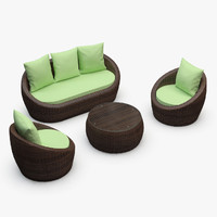 Avo Outdoor Rattan Furniture Set - Armchair, Sofa, Coffee Table