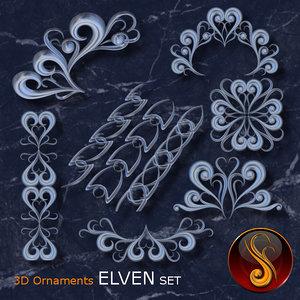 ornament set elven 3d model