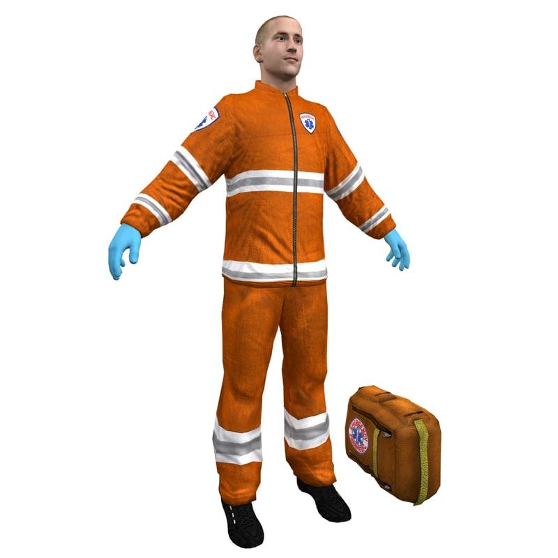 3d paramedic character human